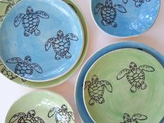 Sea Turtle Place Settings. Service for Two. 6 by elizabethpottery, $220.00