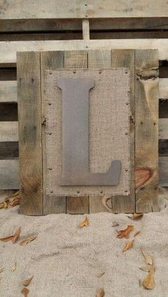 Initial Wall Art Made From Pallets And Burlap