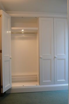 This wardrobe was constructed in MDF and softwood and spray finished in the workshop. The interior LED down lights were activated by opening and closi. Bedroom Closet Design, Master Bedroom Closet, Bedroom Wardrobe, Closet Designs, Fitted Bedroom Furniture, Fitted Bedrooms, Built In Furniture, Ikea Wardrobe, Built In Wardrobe