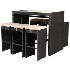 Costway 7 PCS Rattan Wicker Bar Table Stools Furniture Set Garden Backyard  Patio Cushion