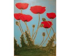 Poppies Original 18X24 inch Monoprint by VIZArt on Etsy, $300.00
