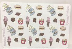 Junk Food Stickers/ Planner, Scrabooking, Journal Stickers/ Hand-drawn Stickers by softpinksmooches on Etsy