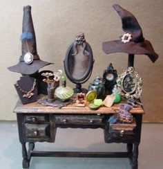 A Witch's Vanity - it's so cute!  Makes me want a witchy dollhouse to put it in.