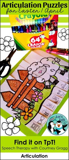 Articulation puzzle strips for Easter or Spring speech therapy!