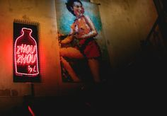 Upstairs to Zhou Zhou - Nightlife - Broadsheet Melbourne Creative Walls, Restaurant Bar, Night Life, Signage, Melbourne, Oriental, Bar Food, Neon Signs, House Styles