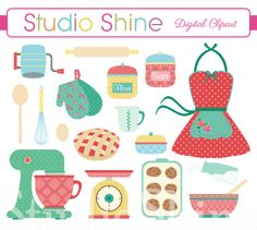Retro Baking  Cooking Digital Clipart Set Clip art by StudioShine, $5.00