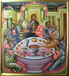 The Last Supper icon Religious Pictures, Religious Art, Christian Artwork, Byzantine Icons, House Illustration, Last Supper, Holy Week, Orthodox Icons, Sacred Art