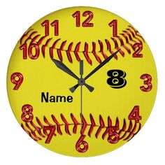 """Personalized Softball Clock with her Jersey NUMBER, MONOGRAM and NAME. Type it into the Two Text Box Templates beneath the """"Personalize it"""" box to your right. You can change the Number to her Monogram or even DELETE any or all of the Text by Highlighting the temporary text and deleting it. <br> <br> Softball Bedroom Themes decorations because she loves the game with all her heart. Encourage this dedication with cool Softball Decor for Girls Room. <br> <br> <b>100% """"Love it"""" Guanteed. Not…"""