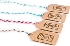 Thank you mini tags . Spring 25 ct. kraft card stock  . small brown gift tag with color bakers twine . gift topper . embellishment