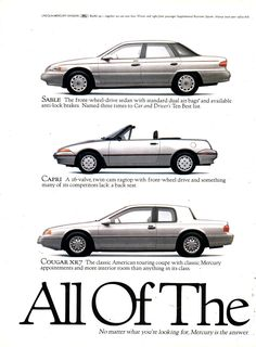 1993 Ford Mercury Sable Sedan Capri Convetible Cougar Villager Wagon Tracer Sedan Grand Marquis Sedan Page 1 USA Original Magazine Advertisement Retro Cars, Vintage Cars, 1990s Cars, Mercury Sable, Grand Marquis, Car Advertising, Car And Driver, Dream Garage, My Ride