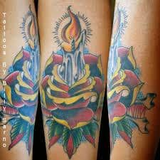 What does candle tattoo mean? We have candle tattoo ideas, designs, symbolism and we explain the meaning behind the tattoo. Candle Tattoo, Flame Tattoos, Rose Candle, Tattoos With Meaning, Tattoo Images, Tattoo Inspiration, I Tattoo, Watercolor Tattoo, Body Art