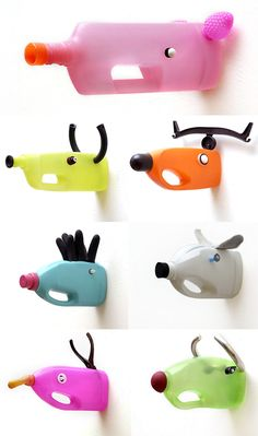 "Jolie idée déco : des bouteilles plastique ""upcyclées"" en trophées pour chambre d'enfants - réalisation de l'artiste Carolien Adriaansche DIY : plastic bottles turned into animals for kids' room"