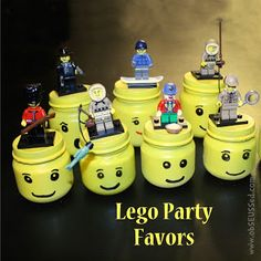 """Lego Storage Jar.  Baby food jar into a lego man head.  Use to hold """"lego man poop"""" (M's) and top with a lego guy."""