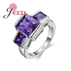 JEXXI Low Price Drop Shipping Woman Wedding Engagement Rings High Quality 925 Stamp Sterling Silver Red/Purple Crystal Jewelry