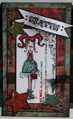 Birthday card with a stamped inside, rubber stamps DT ScrapLinda http://blog.pysseldags.com