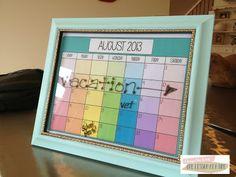 Printable Paint Chip Calendar...Insert into picture frame you have around the house, pop on extra heavy duty magnets (if you want to) and put on your fridge.  Use dry erase marker.  She has blank template too if you prefer - ALL FREE.