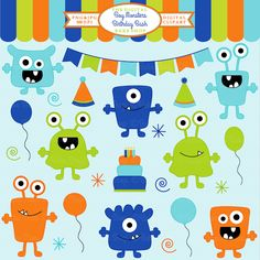 Boy Monsters Birthday Bash Clipart - adorable monsters for invitations, crafts, treat bags and more!
