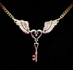Winged Key Necklace  Antique Silver by horribell on Etsy, $15.00