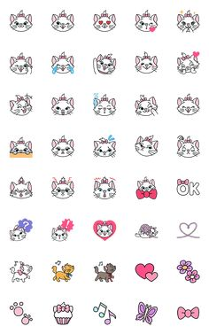 Marie, one of the adorable stars from The Aristocats, is now available in emoji form! Featuring numerous cute expressions, these emoji really show off both her sweet and sassy sides! Cute Disney Drawings, Mini Drawings, Cute Easy Drawings, Doodle Drawings, Cute Disney Wallpaper, Cute Cartoon Wallpapers, Printable Stickers, Cute Stickers, Disney Marie