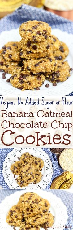 Easy Banana Oatmeal Chocolate Chip Cookies recipe.  Vegan, eggs free, dairy-free, flourless and no sugar!  Healthy, guilt-free and delicious bites of goodness.  Only 7 ingredients. The best Clean Eating Chocolate Chip cookies on Pinterest! / Running in a Skirt