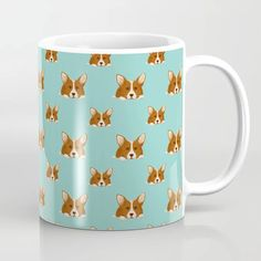 Welsh Corgi Dog Breed Pet Portrait Pattern Turquoise Coffee Mug Corgi Dog Breed, Dog Breeds, Corgi Gifts, Cardigan Welsh Corgi, Pembroke Welsh Corgi, Pet Portraits, Coffee Mugs, Turquoise, Ceramics