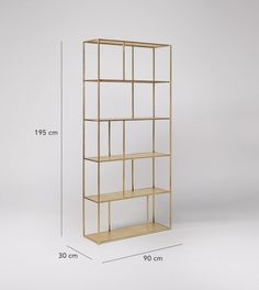 Aero large Deco shelving unit in brass. Celebrate artisan making at Swoon, hand-crafted designs without the inflated price tag. Brass Shelving, Wood Shelving Units, Wood Shelves, Room Divider Shelves, Brass Wood, Shelf Design, Tv Cabinets, Hacks Diy, Design Crafts