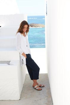 Long and light cardigan with the easy linen-stretch pant