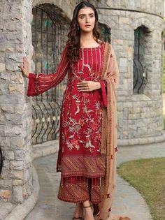 Motifz Premium Bemberg Collection 2019(2292 CHEERFUL-RED) - Umar Poshak Mehal Clothes For Sale, Clothes For Women, Pakistani Designer Suits, Pakistani Salwar Kameez, Pakistani Bridal Wear, Chiffon Material, 3 Piece Suits, Punjabi Suits, Wedding Suits