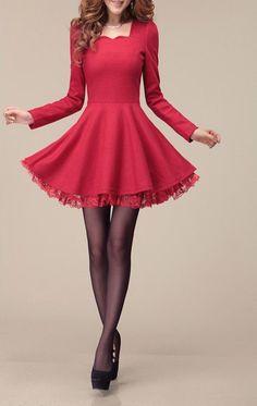 Red wool dress long sleeve dress maxi dress by fashionwomanstore, $62.00