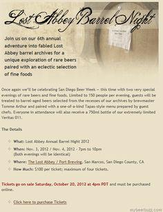 Lost Abbey 6th Annual Barrel Night 11/3