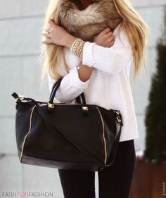 white and black I have this furry cowl thing and the blk skinny jeans just need a chunky white sweater