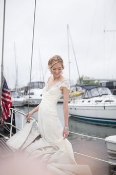 Bride on Sailboat | photography by http://www.alexisjuneweddings.com/