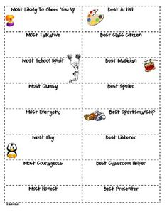 End of the School Year Election Voting Sheet, cute but need all to be positive