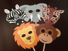 Animal Circus Masks-Birthday Party, Baby Shower-Photo Prop. $15.00, via Etsy.