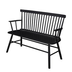 Simple Living Black Shelby Dining Bench | Overstock.com Shopping - The Best Deals on Dining Chairs