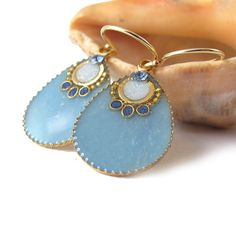 Big Gold Drops Earrings   Blue sky color resin  by @Sigalit Aharoni Aharoni Alcalai, $36p.00