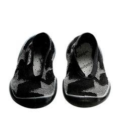 NUNUNU + Collegien Black Star Ballerina Slippers | Funky Kids Shoes Online | Tiny Style
