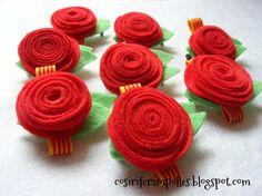 Cosir i fer ampolles: Roses de feltre per Sant Jordi