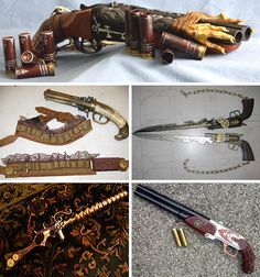 Several ideas I like:  decorated bullets, embellished ammunition belts, and the brass rifle