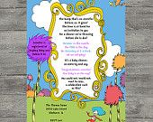 Dr. Seuss, Oh Baby The Places You'll Go,  Baby Shower Invitation -  PRINTABLE INVITATION DESIGN. $10.00, via Etsy.