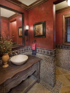 Pebbled wall tile in Bath. The Overlook at Heritage Hills~love the upper wall color