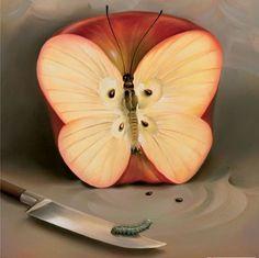 Vladimir Kush butterfly apple painting for sale - Vladimir Kush butterfly apple is handmade art reproduction; You can shop Vladimir Kush butterfly apple painting on canvas or frame. Vladimir Kush, Surrealism Painting, Painting Art, Cool Paintings, Beautiful Paintings, Love Art, Amazing Art, Art Photography, Photos
