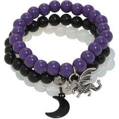 Blackheart Beaded Dragon Moon Bracelet Set ($7.42) ❤ liked on Polyvore featuring jewelry, bracelets, beading charms, plastic jewelry, plastic charms, charm jewelry and beading jewelry