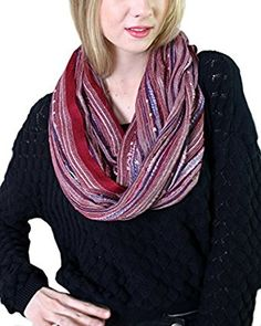 Women's Festival Bliss Shimmer Infinity Scarf, Boho Loop Shawl (Passion Red) at Amazon Women's Clothing store: