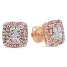 Share for $20 off your purchase of $100 or more! 0.65 Carat (Ctw) 10K Rose Gold Round Cut White Diamond Ladies Cluster Style Stud Earrings - Dazzling Rock #https://www.pinterest.com/dazzlingrock/