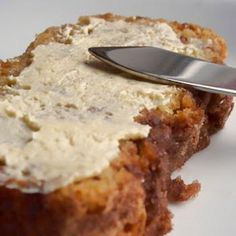 Amish Cinnamon Bread 1 cup butter, softened 2 cups sugar 2 eggs 2 cups buttermilk or 2 cups milk + 2 tbsp lemon juice 4 cups flour 2 tsp baking soda Cinnamon/sugar mixture: ⅔ cups sugar 2 tsp cinnamon Bake 350F for 45-50 mins (go to website for instructions) :) I always butter the pans and coat sides and bottom liberally with Cinnamon and Sugar.