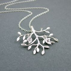Silver Tree Necklace, Two Custom Initials, Sterling Silver Chain, Tree Pendant, Personalized Necklace, Family Tree. $28.00, via Etsy.