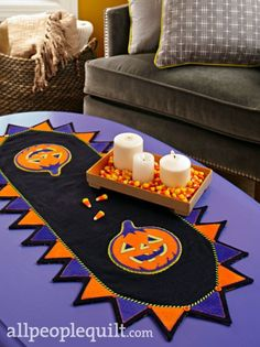 Happy Jack table runner pattern by Lisa DeBee Schiller, from the American Patchwork & Quilting October 2015 issue. Wool applique.