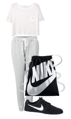 """Simple + white"" by therealexandra on Polyvore featuring MANGO and NIKE"