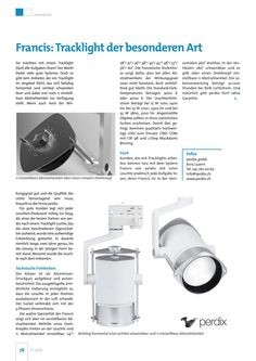 PR Bericht | Tracklight francis | Fachmagazin ET Licht | Ausgabe 3 | September 2016 Innovation, September, Spot Lights